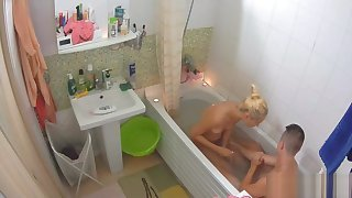 Stunning blonde takes a shower with will not hear of boyfriend