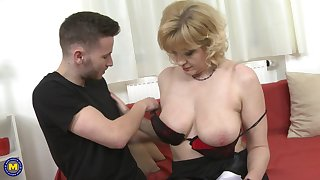 Sandra G. strips to obtain the brush mature shaved pussy pounded hardcore