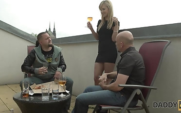 Innocent pole dance turned into nice dad and  sexual intercourse