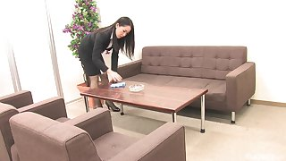 Staggering brass hat lady Ai Mizushima masturbates alone in her office on the couch