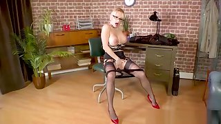 Blonde big tits Uncle wanks more than writing-desk in nylons and heels