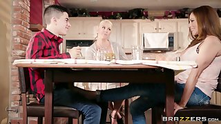 Hot busty aunt Ariella Ferrera seduces her young cousin in the kitchen